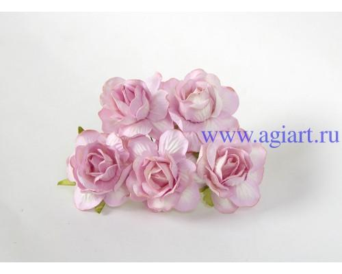 Кудрявые розы 4 см -сиреневые, 5 шт