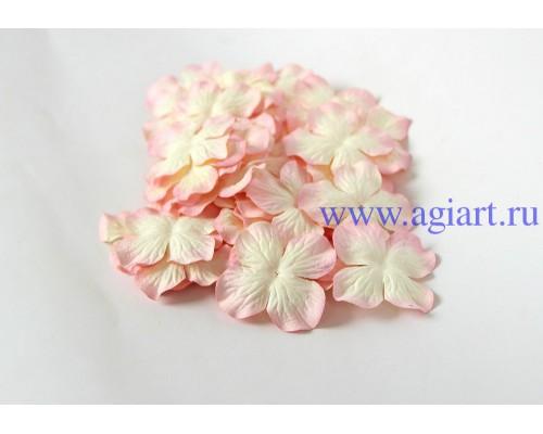 Гортензии св.розовый+молочный 5 см 10 шт