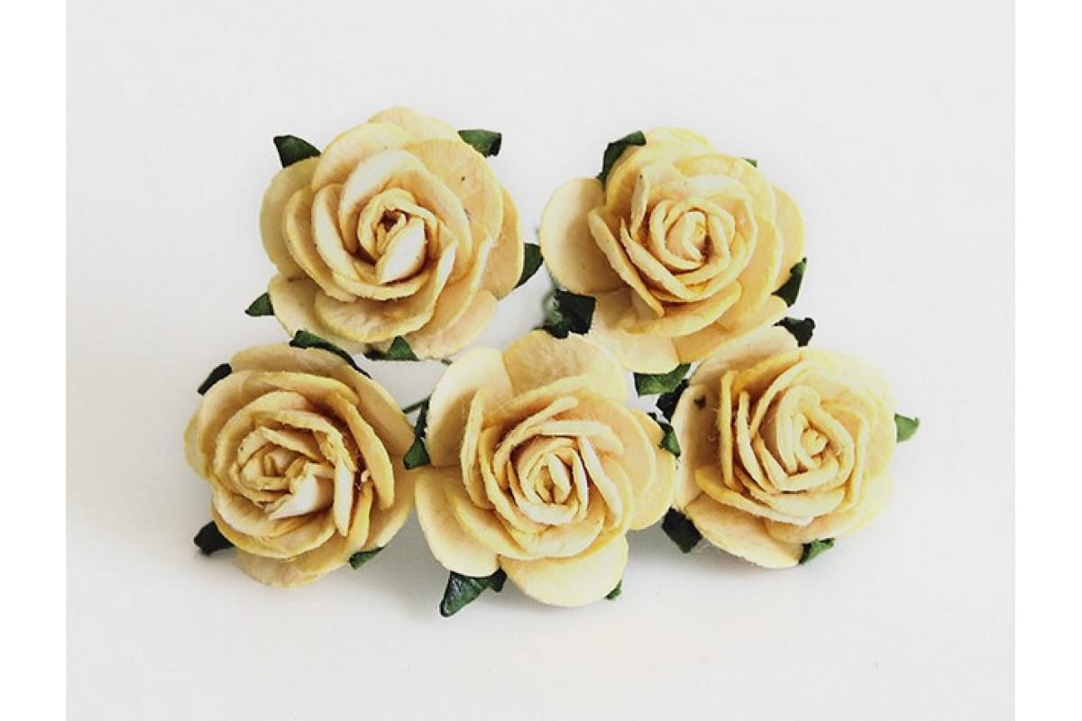 Розы желтые размер 2см, 5 шт