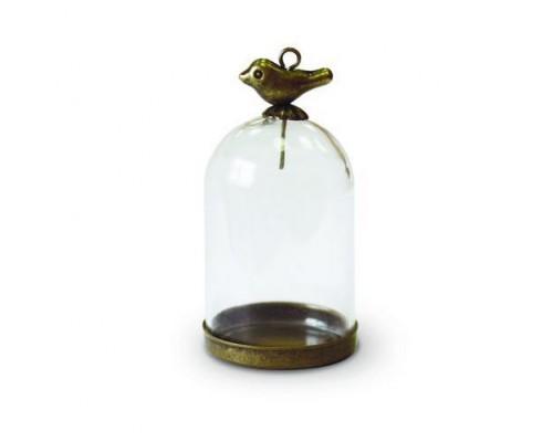 Набор стеклянный мини-колпак с птичкой