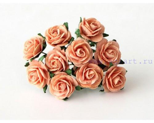 Розы персиковые 1,5 см, 10шт.