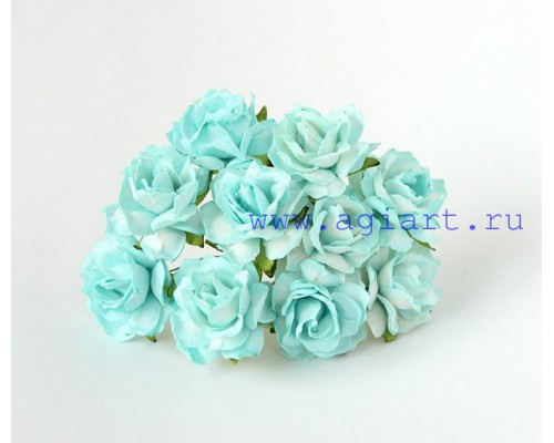 Кудрявые розы 3 см -Бирюзовые , 5 шт
