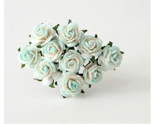 розы белый+св.голубой 1 см, 10 шт.