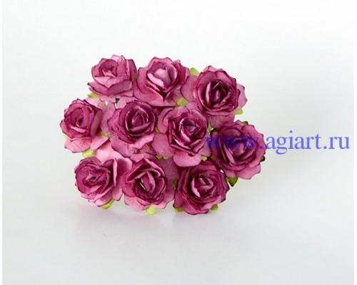 Кудрявые розы 2 см - Сиреневые теплые, 5 шт