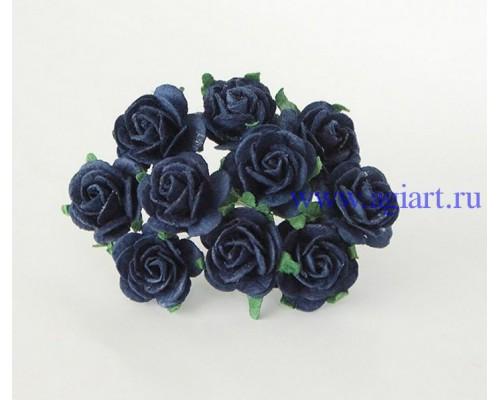 Розы темно-синие 2 см, 5 шт.