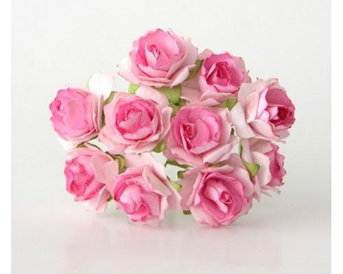 Кудрявые розы 2 см - Розовые двухтоновые , 5 шт