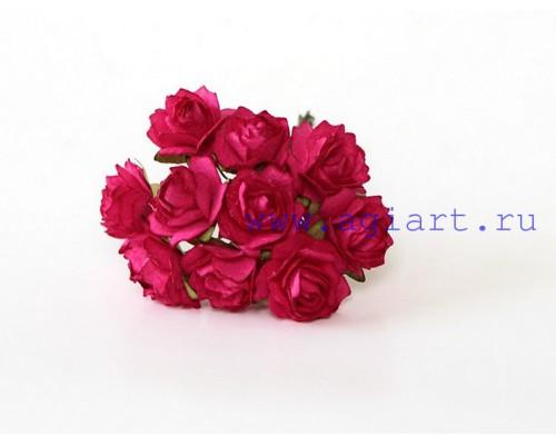 Кудрявые розы 2 см - Ярко-розовые , 5 шт