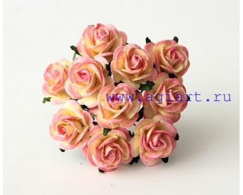 Розы розово-желтые 2 см, 5 шт.