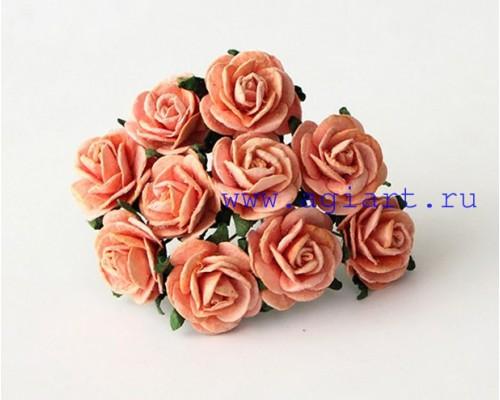 Розы персиковые 2 см, 5 шт.