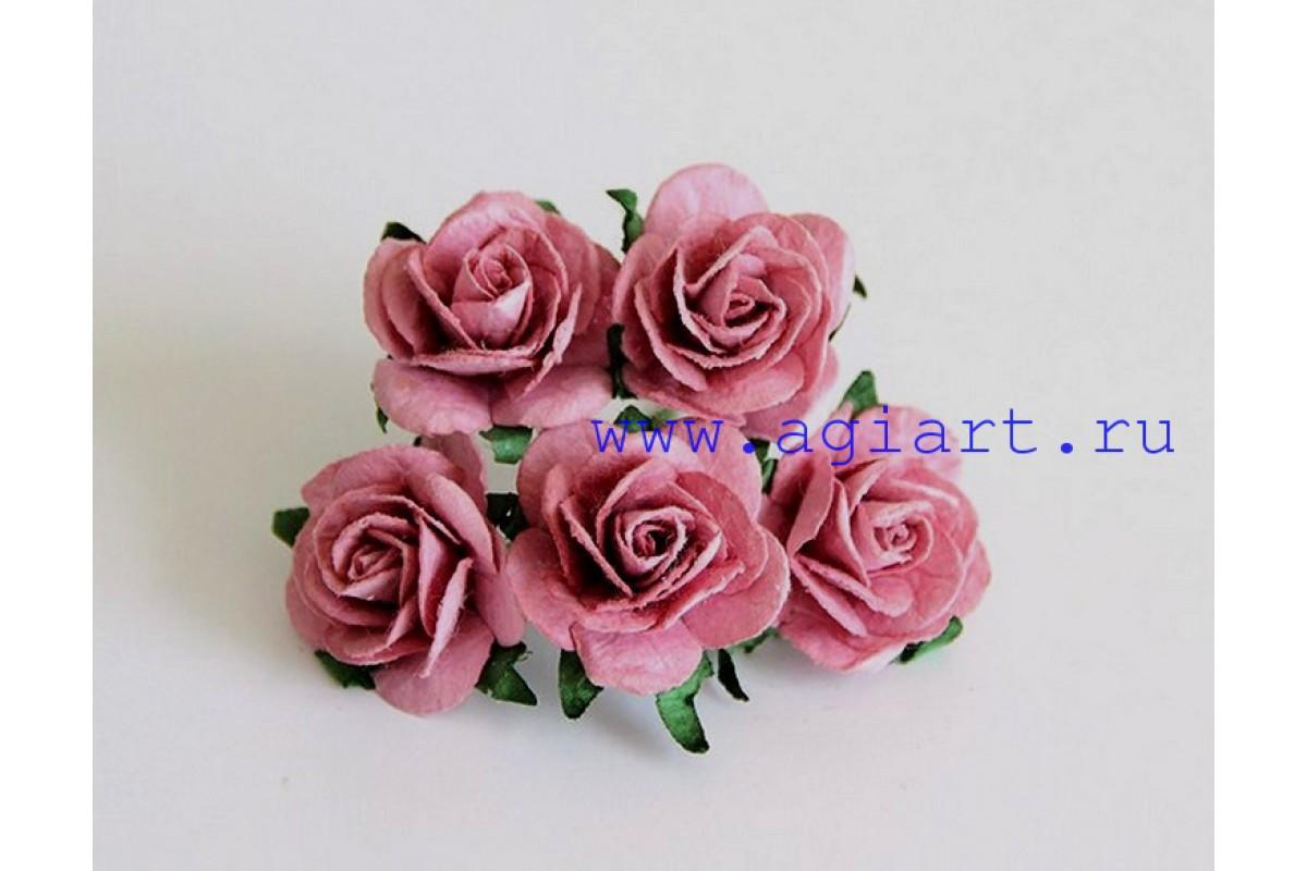 Розы каштановые размер 2,5 см 5 шт