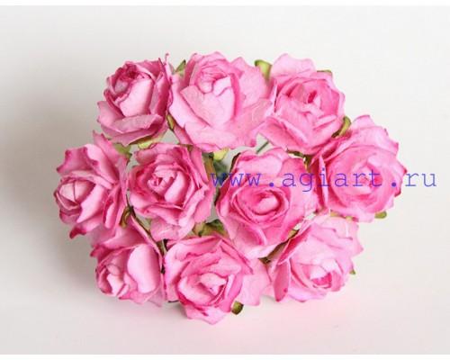 Кудрявые розы 2 см - Розовые, 5 шт