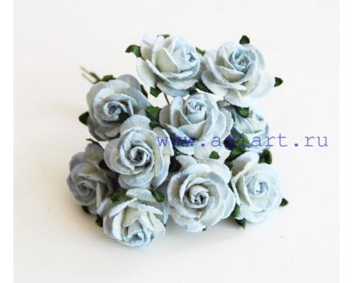Розы Бело-голубые (двухтоновые) 2 см, 5 шт.