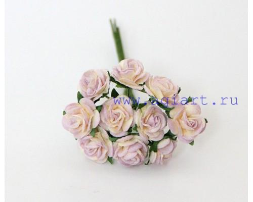розы Молочный+сиреневый 1 см, 10 шт.