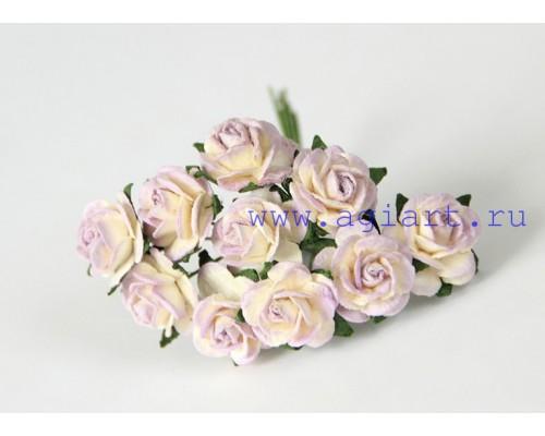 розы Молочный+сиреневый 1,5 см, 10 шт.