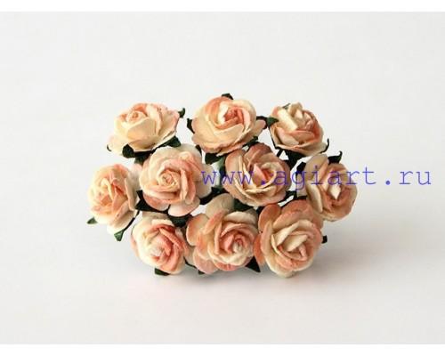 розы двухтоновые оранжевый беж 1,5 см, 10 шт.