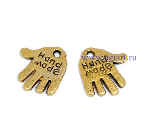 """подвеска металлическая """"рука Hand made"""" золото"""
