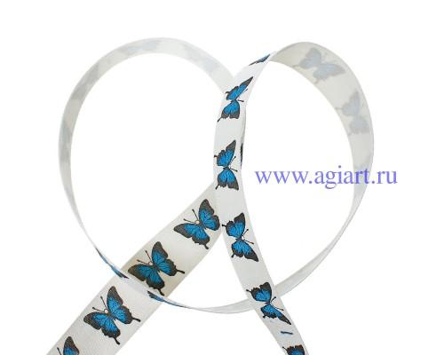 Лента хлопковая бабочки синие, 1 м.