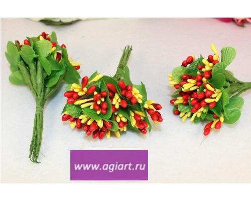 "Декоративный букетик ""красный+желтый"", 12 веточек"