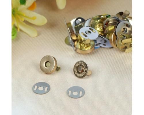 """Магнитная застежка (кнопки) """"Золото"""", d14 мм., 1 набор"""
