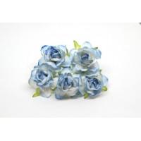 Кудрявые розы 4 см -Голубые двухтоновые, 5 шт