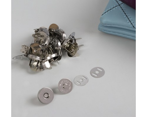 """Магнитная застежка (кнопки) """"Серебрянный"""", d18мм, 1 набор"""