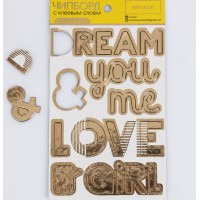 Чипборд с фольгированием на клеевой основе «Love», 12 × 21 см., Артузор