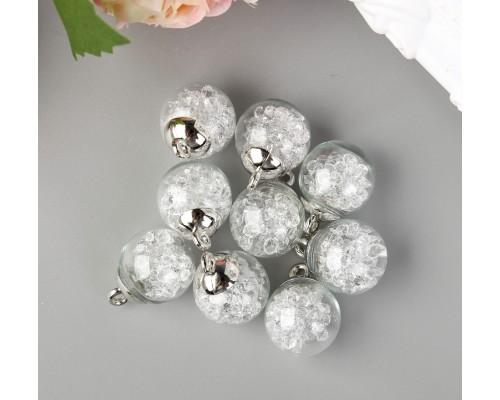 """Подвеска """"Стеклянный шар с кристаллами"""", белый, 1шт."""