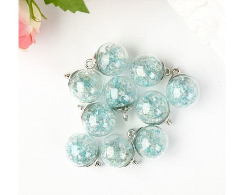"""Подвеска """"Стеклянный шар с кристаллами"""", голубой, 1шт."""