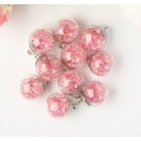 """Подвеска """"Стеклянный шар с кристаллами"""", розовый, 1шт."""