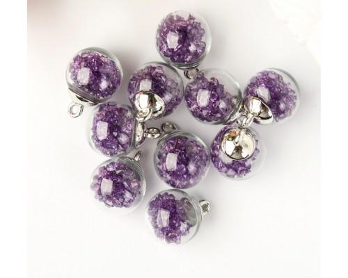"""Подвеска """"Стеклянный шар с кристаллами"""", фиолетовый, 1шт."""
