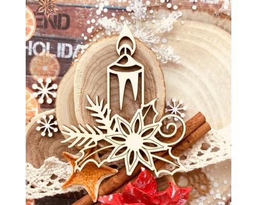 "Чипборд ""Рождественская свеча"", Wood Home"