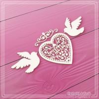 """Набор чипборда """"Ажурное сердце и голуби"""" 4 элемента, СкрапМагия"""
