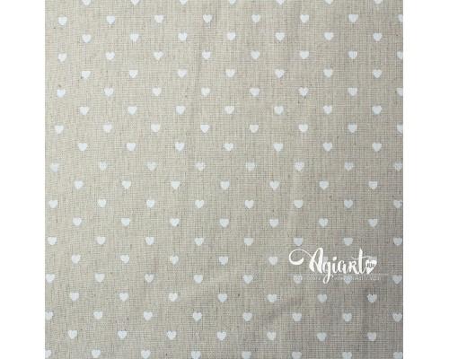 """Ткань мешковина """"Белые сердечки"""" 75*50 см"""