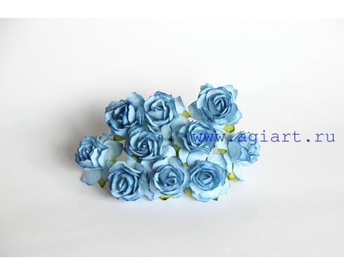 Кудрявые розы 3 см -Голубые , 5 шт