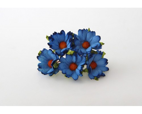 """Ромашки """"Синие"""" махровые 4 см, 5 шт"""