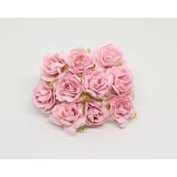 Кудрявые розы 3 см - Св. Розовые , 5 шт