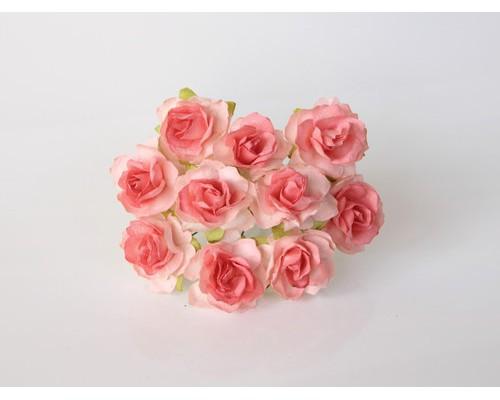 Кудрявые розы 3 см -Св. коралловые , 5 шт