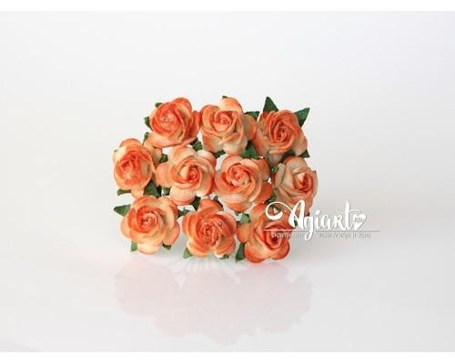 Розы оранжевые двухтоновые 1,5 см, 10шт.