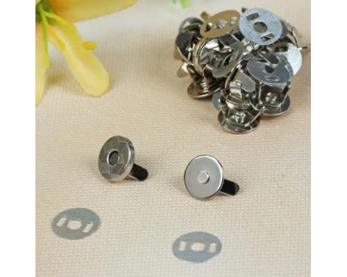 """Магнитная застежка (кнопка) """"Серебро"""", d10 мм., 1 набор"""