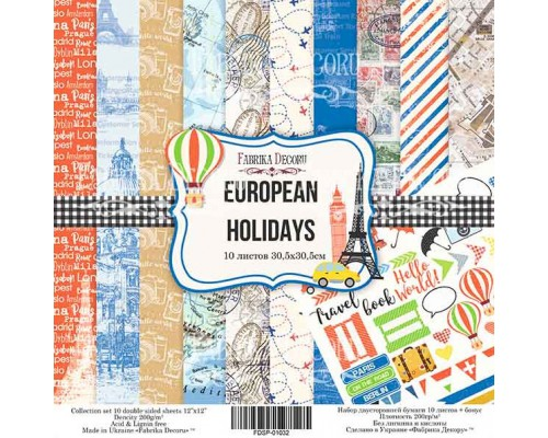 "Набор бумаги ""European Holidays"", 20*20см., Фабрика Декора"