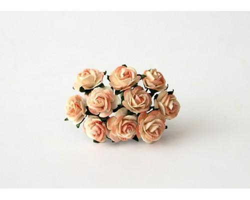 Розы оранжевые 2х тоновые 1,5 см, 10 шт.