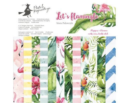 "Набор бумаги ""Let's Flamingle"" 15.3 х 15.3 см., 24 листа, P13"