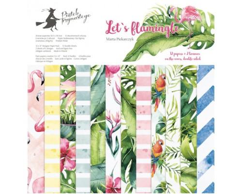 "Набор бумаги ""Let's Flamingle"" 30.5 х 30.5 см 6 листов, 1/2 полного набора, P13"