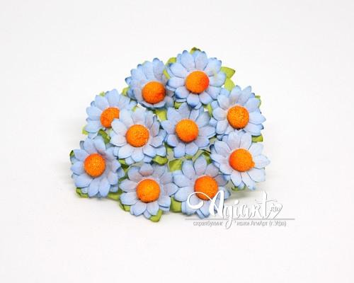 Ромашки голубые 2.5 см, 10 шт