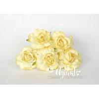 Кудрявые розы 4 см - Св.желтые, 5 шт.