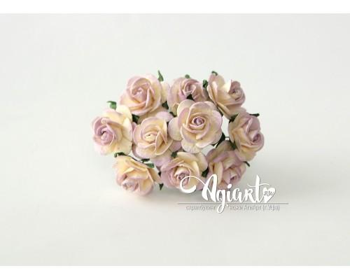 Розы Св.сиреневый+молочный 2 см., 5 шт.