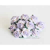 Розы сиреневый+белый 2 см., 5 шт.