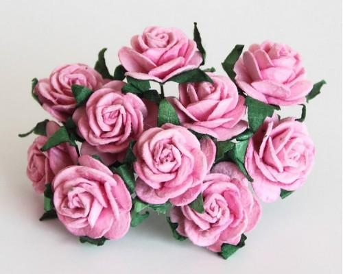 Розы розовые 2 см, 5 шт.