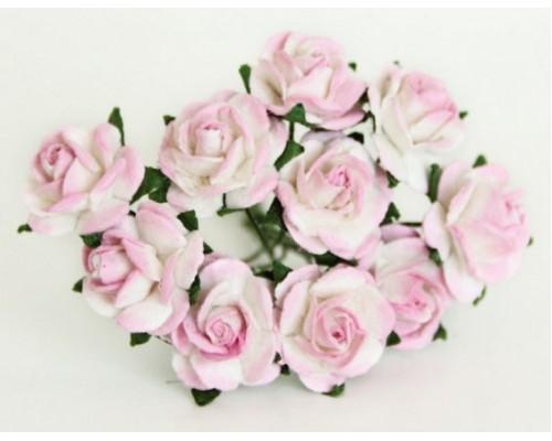Розы розово-белые 1 см 10 шт.