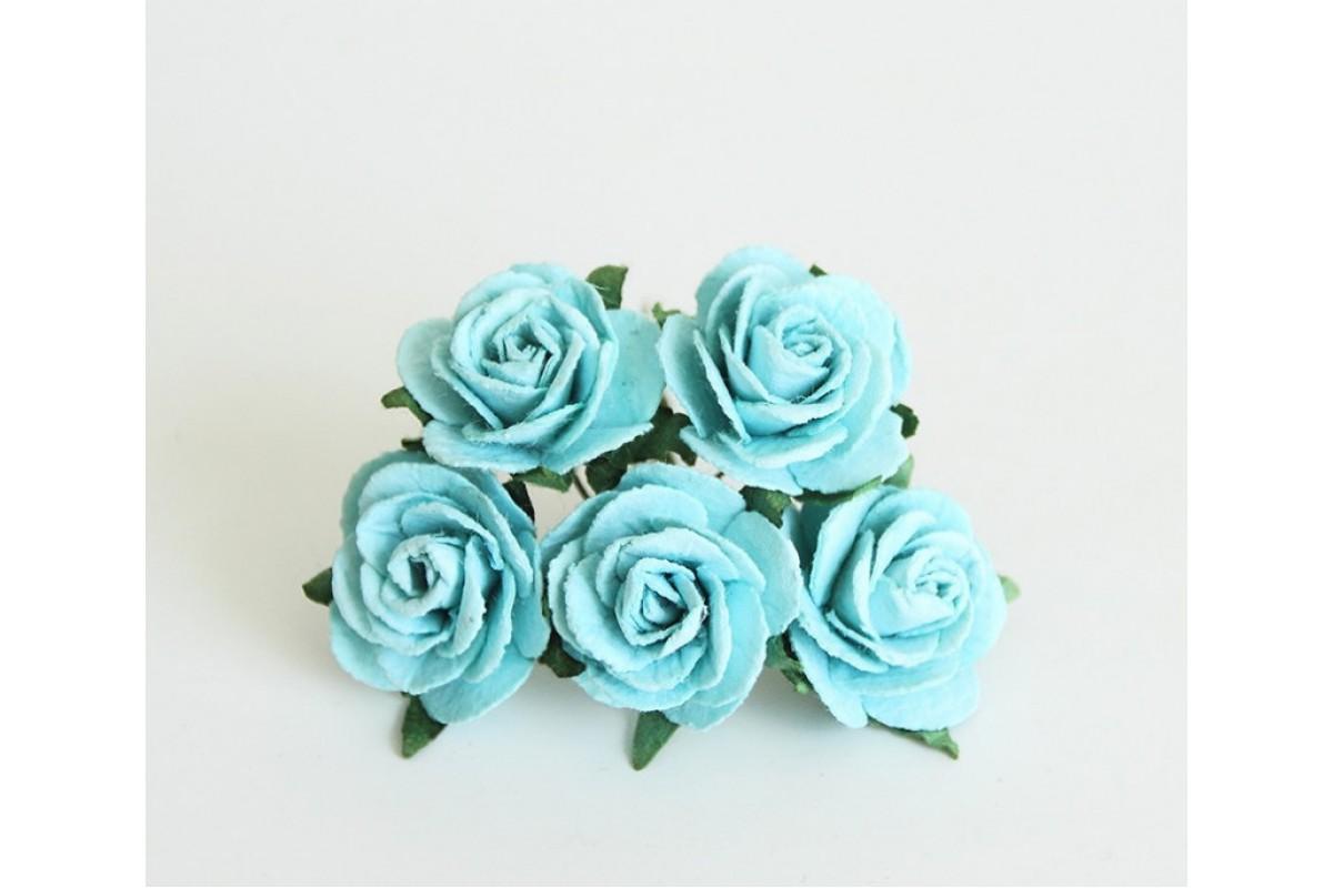 Розы бирюзовые размер 2 см 5 шт